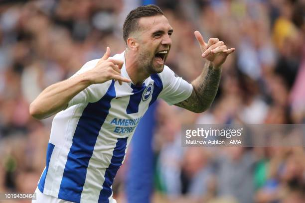 Shane Duffy of Brighton and Hove Albion celebrates after scoring a goal to make it 2-0 during the Premier League match between Brighton & Hove Albion...