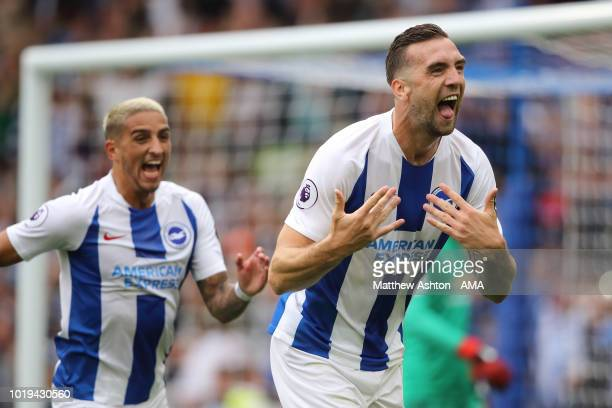 Shane Duffy of Brighton and Hove Albion celebrates after scoring a goal to make it 20 during the Premier League match between Brighton Hove Albion...