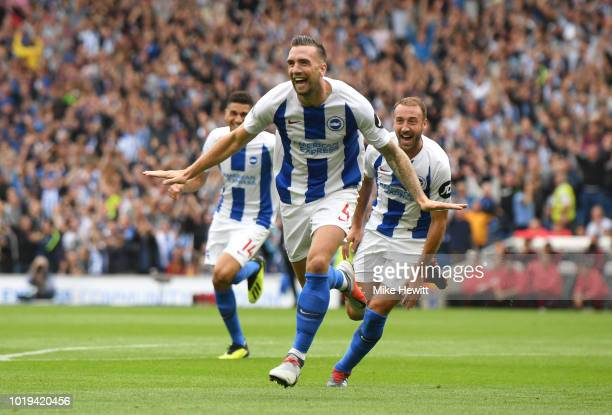 Shane Duffy of Brighton and Hove Albion celebrates after scoring his team's second goal during the Premier League match between Brighton Hove Albion...
