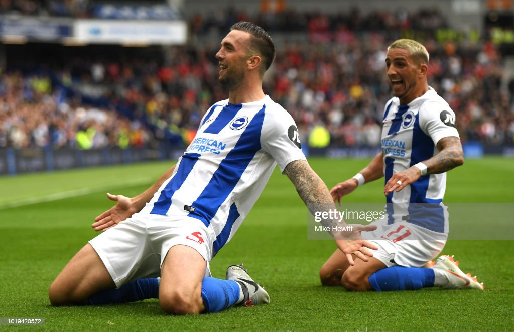 Shane Duffy of Brighton and Hove Albion celebrates after scoring his team's second goal with team mate Anthony Knockaert during the Premier League match between Brighton & Hove Albion and Manchester United at American Express Community Stadium on August 19, 2018 in Brighton, United Kingdom.