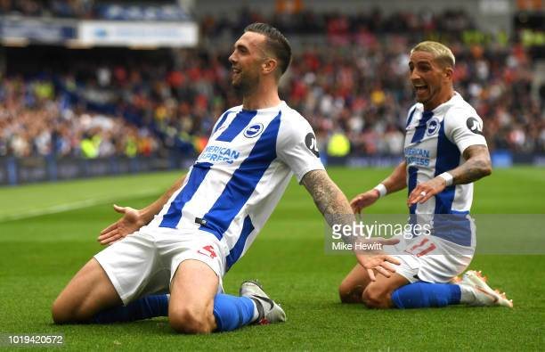 Shane Duffy of Brighton and Hove Albion celebrates after scoring his team's second goal with team mate Anthony Knockaert during the Premier League...