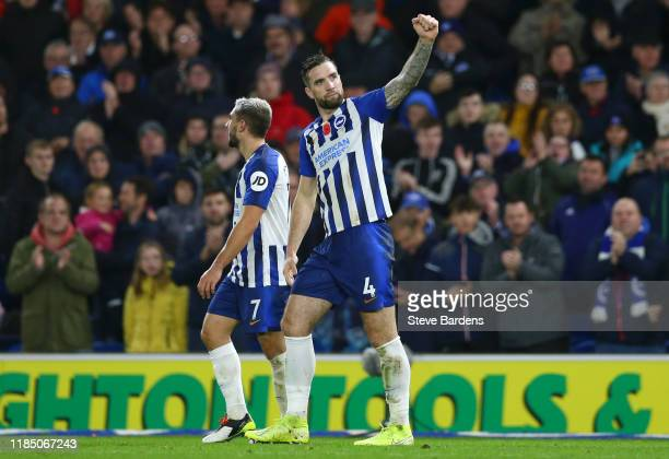 Shane Duffy of Brighton and Hove Albion celebrates after scoring his team's second goal during the Premier League match between Brighton & Hove...