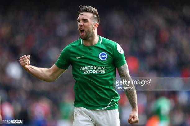 Shane Duffy of Brighton and Hove Albion celebrates at the final whistle of the Premier League match between Crystal Palace and Brighton & Hove Albion...