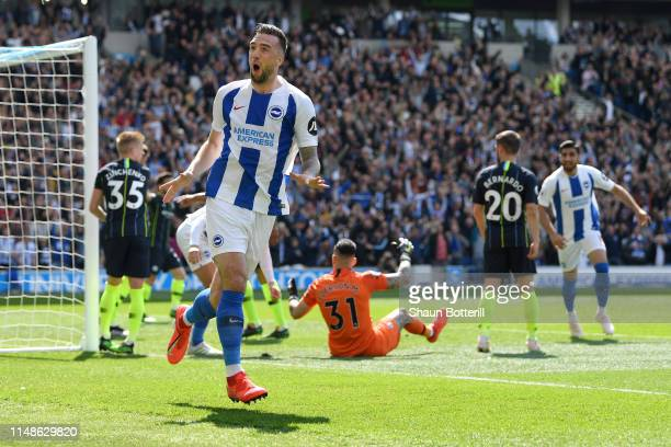 Shane Duffy of Brighton and Hove Albion celebrates his sides first goal during the Premier League match between Brighton & Hove Albion and Manchester...