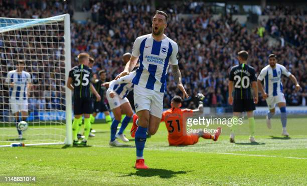Shane Duffy of Brighton and Hove Albion celebrates his sides first goal during the Premier League match between Brighton Hove Albion and Manchester...