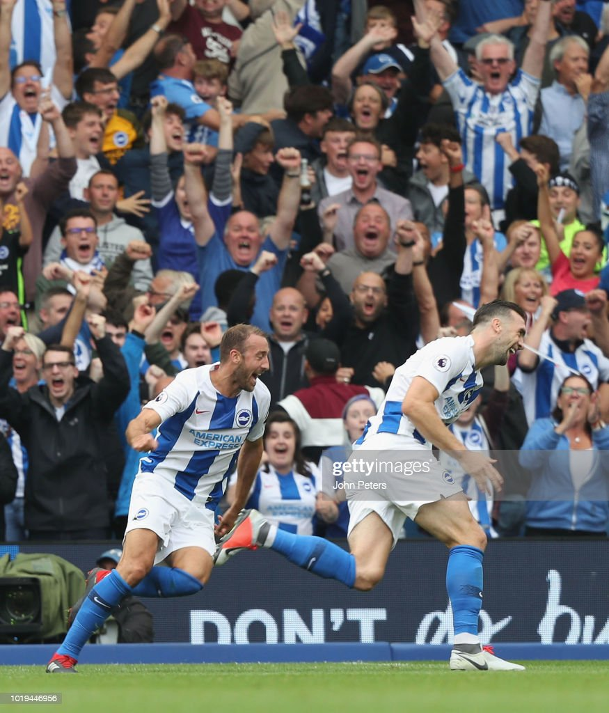 Shane Duffy of Brighton and Hove Albion celebrates scoring their second goal during the Premier League match between Brighton & Hove Albion and Manchester United at American Express Community Stadium on August 19, 2018 in Brighton, United Kingdom.