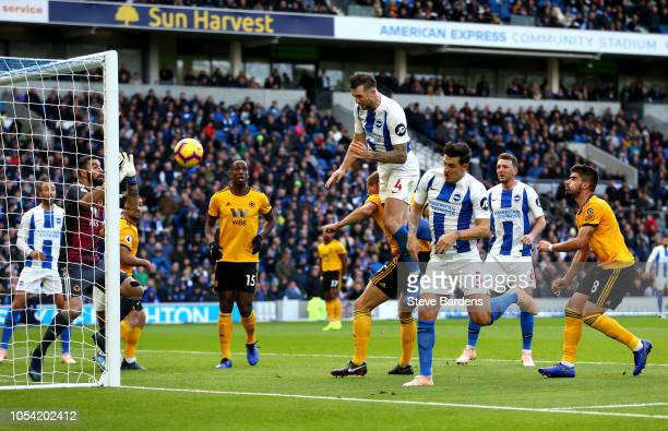 Shane Duffy of Brighton and Hove Albion heads for goal and misses during the Premier League match between Brighton Hove Albion and Wolverhampton...
