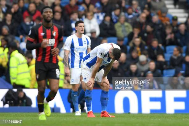Shane Duffy of Brighton and Hove Albion looks dejected after the Premier League match between Brighton & Hove Albion and AFC Bournemouth at American...