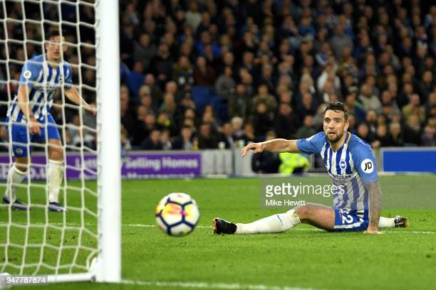 Shane Duffy of Brighton and Hove Albion looks on as he almost scores an own goal during the Premier League match between Brighton and Hove Albion and...