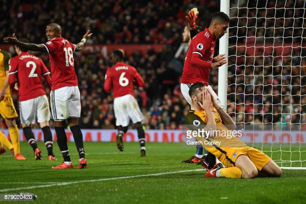 Shane Duffy of Brighton and Hove Albion misses a chance during the Premier League match between Manchester United and Brighton and Hove Albion at Old...