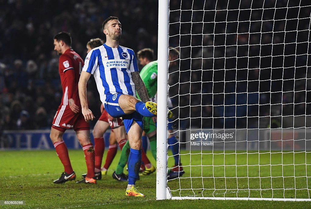 Shane Duffy of Brighton and Hove Albion reaccts after a missed chance during the Sky Bet Championship match between Brighton & Hove Albion and Cardiff City at Amex Stadium on January 24, 2017 in Brighton, England.