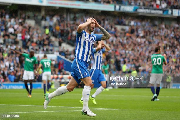 Shane Duffy of Brighton and Hove Albion reacts after the referee disallowed his attempt on goal during the Premier League match between Brighton and...
