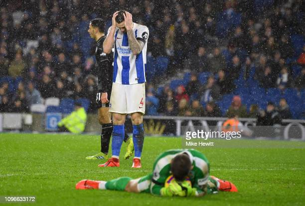 Shane Duffy of Brighton and Hove Albion reacts during the Premier League match between Brighton Hove Albion and Burnley FC at American Express...