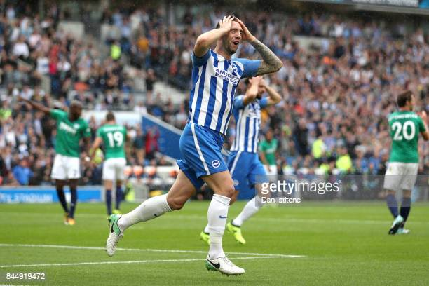 Shane Duffy of Brighton and Hove Albion reacts during the Premier League match between Brighton and Hove Albion and West Bromwich Albion at Amex...