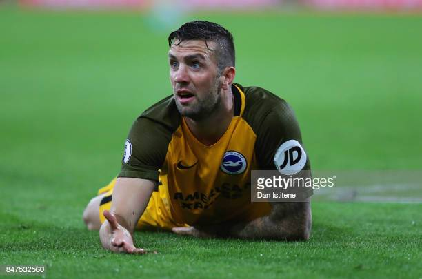 Shane Duffy of Brighton and Hove Albion reacts during the Premier League match between AFC Bournemouth and Brighton and Hove Albion at Vitality...