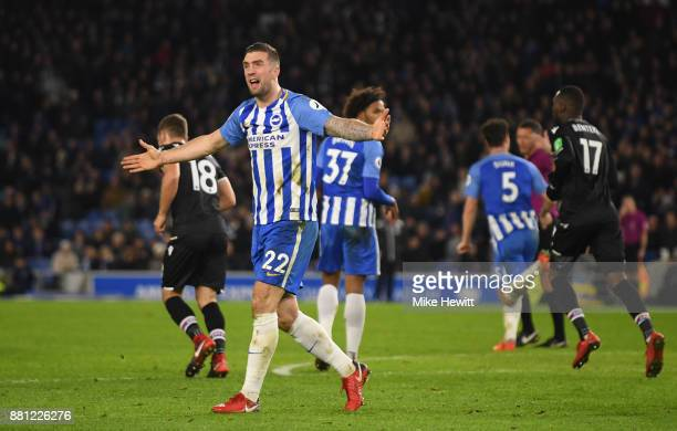 Shane Duffy of Brighton and Hove Albion reacts during the Premier League match between Brighton and Hove Albion and Crystal Palace at Amex Stadium on...