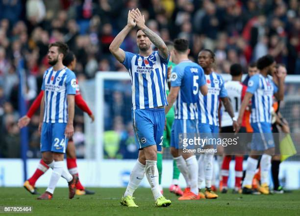 Shane Duffy of Brighton and Hove Albion salutes the crowd after the Premier League match between Brighton and Hove Albion and Southampton at Amex...