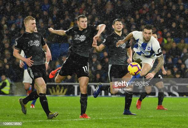 Shane Duffy of Brighton and Hove Albion scores his team's first goal during the Premier League match between Brighton Hove Albion and Burnley FC at...
