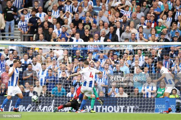 Shane Duffy of Brighton and Hove Albion scores his team's second goal during the Premier League match between Brighton Hove Albion and Manchester...