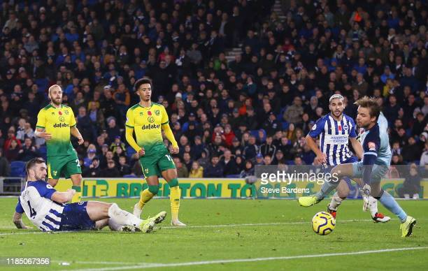 Shane Duffy of Brighton and Hove Albion scores his team's second goal during the Premier League match between Brighton & Hove Albion and Norwich City...
