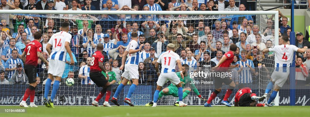 Shane Duffy of Brighton and Hove Albion scores their second goal during the Premier League match between Brighton & Hove Albion and Manchester United at American Express Community Stadium on August 19, 2018 in Brighton, United Kingdom.