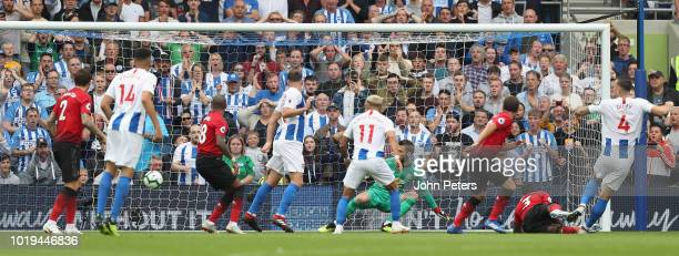 Shane Duffy of Brighton and Hove Albion scores their second goal during the Premier League match between Brighton Hove Albion and Manchester United...