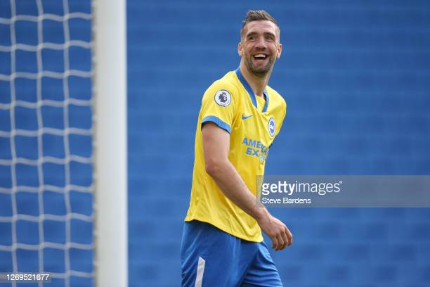Shane Duffy of Brighton and Hove Albion shares a joke with the fans during the pre-season friendly between Brighton & Hove Albion and Chelsea at Amex...
