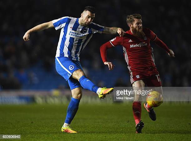 Shane Duffy of Brighton and Hove Albion shoots past Aron Gunnarsson of Cardiff City during the Sky Bet Championship match between Brighton Hove...