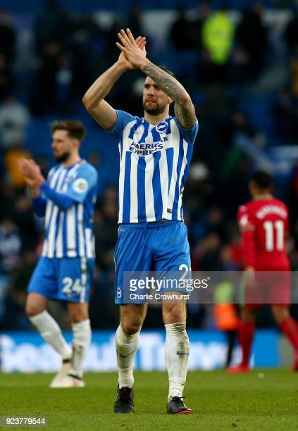 Shane Duffy of Brighton and Hove Albion shows appreciation to the fans following the Premier League match between Brighton and Hove Albion and...