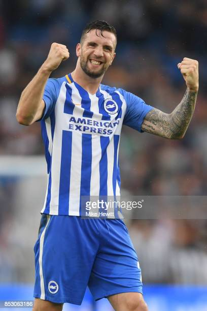 Shane Duffy of Brighton celebrates at the end of the Premier League match between Brighton and Hove Albion and Newcastle United at Amex Stadium on...