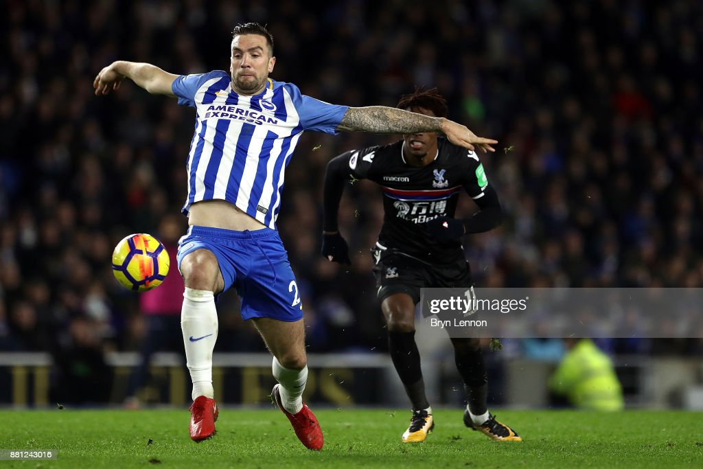 Shane Duffy of Brighton & Hove Albion in action during the Premier League match between Brighton and Hove Albion and Crystal Palace at Amex Stadium on November 28, 2017 in Brighton, England.
