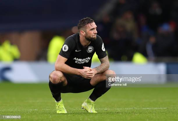 Shane Duffy of Brighton & Hove Albion looks dejected following his sides defeat in the Premier League match between Tottenham Hotspur and Brighton &...