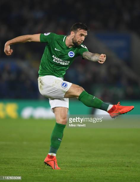 Shane Duffy of Brighton Hove Albion shoots during the Premier League match between Leicester City and Brighton Hove Albion at The King Power Stadium...