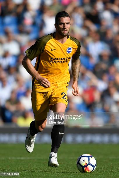Shane Duffy of Brighton in action during a Pre Season Friendly between Brighton Hove Albion and Atletico Madrid at Amex Stadium on August 6 2017 in...