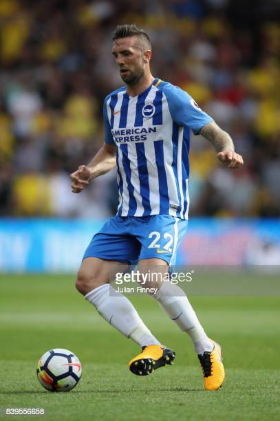 Shane Duffy of Brighton in action during the Premier League match between Watford and Brighton and Hove Albion at Vicarage Road on August 26 2017 in...