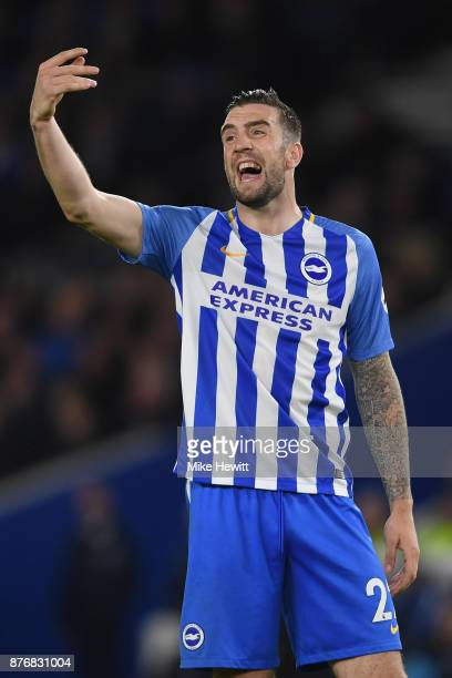 Shane Duffy of Brighton shouts instructions during the Premier League match between Brighton and Hove Albion and Stoke City at Amex Stadium on...