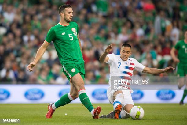 Shane Duffy of Ireland and Bobby Wood of USA during the International Friendly match between Republic of Ireland and USA at Aviva Stadium in Dublin...