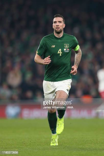 Shane Duffy of Ireland during the UEFA Euro 2020 qualifier between Republic of Ireland and Denmark at Dublin Arena on November 18, 2019 in Dublin,...