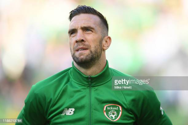 Shane Duffy of Ireland looks on ahead of the UEFA Euro 2020 Qualifying Group D match between Ireland and Gibraltar at Aviva Stadium on June 10, 2019...