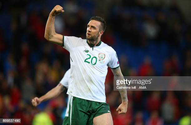 Shane Duffy of Republic of Ireland celebrates during the FIFA 2018 World Cup Qualifier between Wales and Republic of Ireland at Cardiff City Stadium...