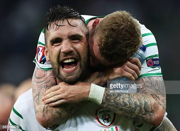 Shane Duffy of Republic of Ireland celebrates with James McClean of Republic of Ireland at the final whistle during the UEFA EURO 2016 Group E match...