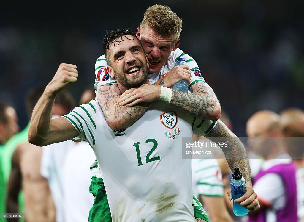 Shane Duffy of Republic of Ireland celebrates with James McClean of Republic of Ireland at the final whistle during the UEFA EURO 2016 Group E match between Italy and Republic of Ireland at Stade Pierre-Mauroy on June 22, 2016 in Lille, France.