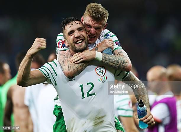 Shane Duffy of Republic of Ireland celebrates with James McClean of Republic of Ireland at the final whistle during the UEFA EURO 2016 Group E match...