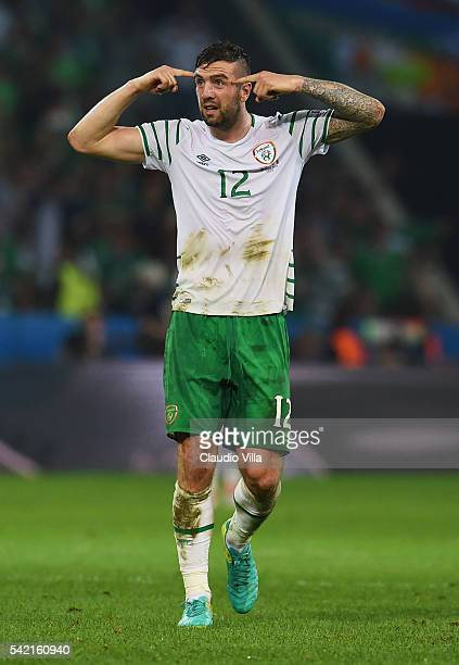 Shane Duffy of Republic of Ireland reacts during the UEFA EURO 2016 Group E match between Italy and Republic of Ireland at Stade PierreMauroy on June...