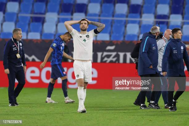 Shane Duffy of Republic of Ireland reacts following their defeat in the penalty shoot out during the UEFA EURO 2020 Play-Off Semi-Final match between...