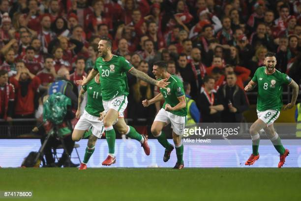 Shane Duffy of the Republic of Ireland celebrates scoring his sides first goal during the FIFA 2018 World Cup Qualifier PlayOff Second Leg between...