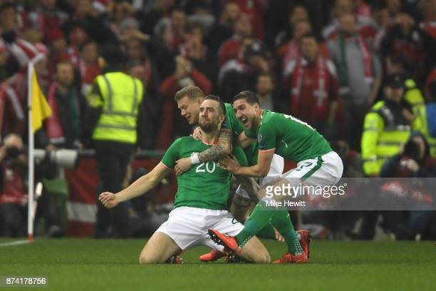 Shane Duffy of the Republic of Ireland celebrates scoring his sides first goal with his Republic of Ireland team mates during the FIFA 2018 World Cup...