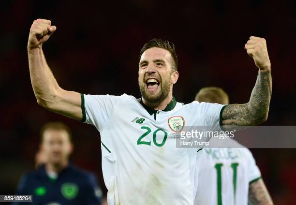 Shane Duffy of the Republic of Ireland celebrates victory after the FIFA 2018 World Cup Group D Qualifier between Wales and Republic of Ireland at...