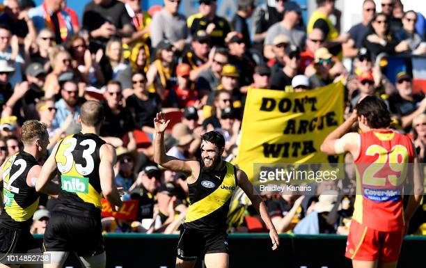 Shane Edwards of Richmond celebrates kicking a goal during the round 21 AFL match between the Gold Coast Suns and the Richmond Tigers at Metricon...