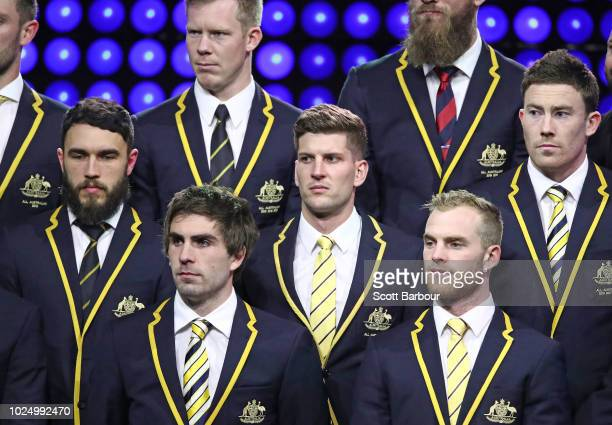 Shane Edwards of the Tigers Andrew Gaff of the Eagles Luke Breust of the Hawks Tom Mitchell of the Hawks look on during the 2018 AFL AllAustralia...
